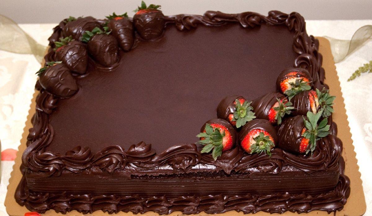 Chocolate Wedding Cake With Chocolate Covered Strawberries