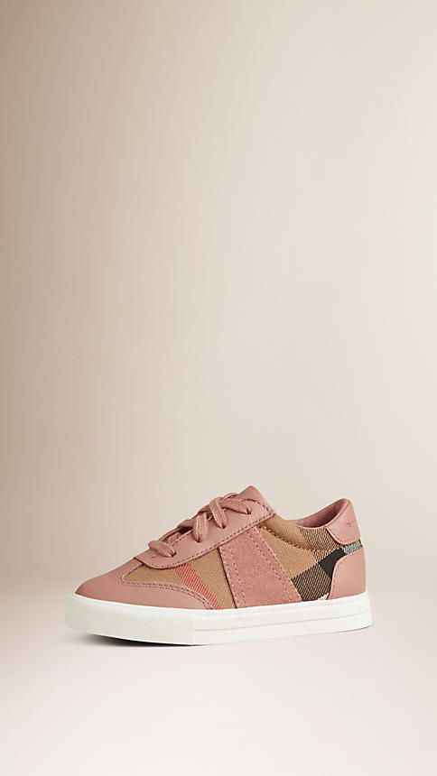 Nude blush House Check and Leather Trainers - Burberry