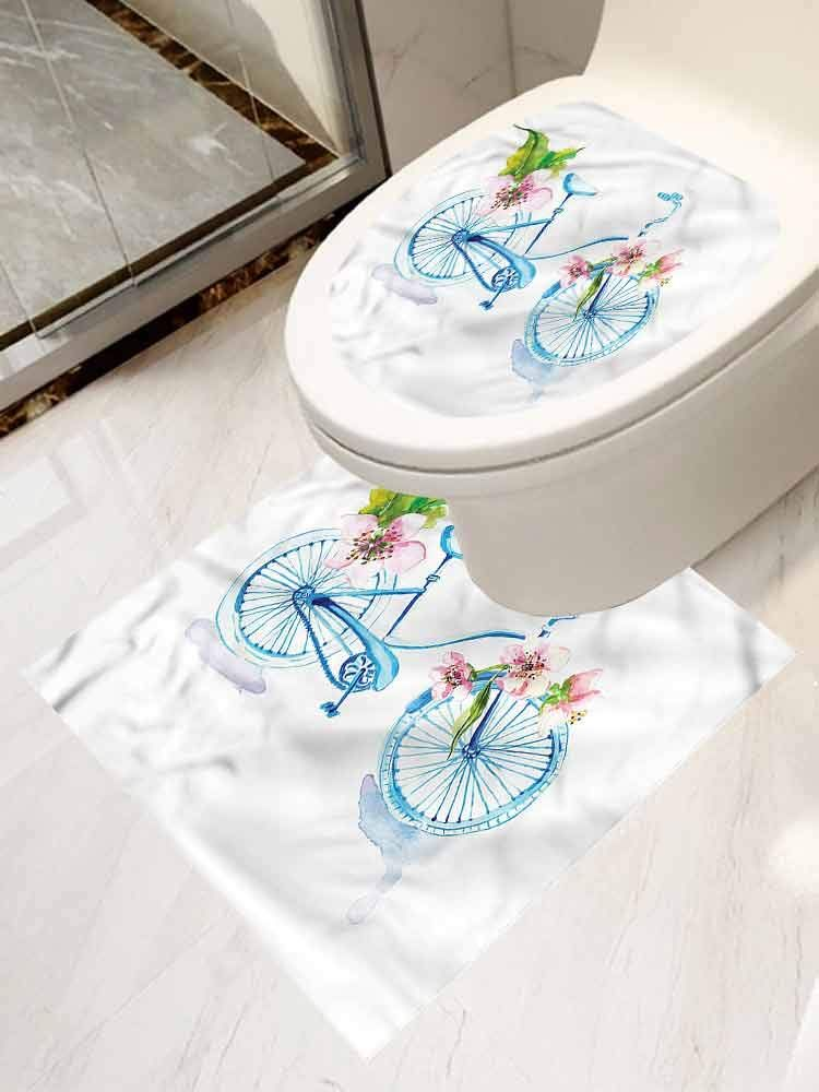Auraisehome Bicycle Stickers For Bathroom Washroom Seat 2 Piece
