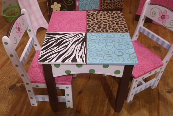 Custom Made Table And Chair Set For Girls Zebra Cheetah