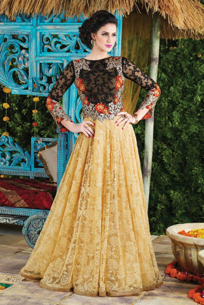 bf7e7430686 Black   Beige Anarkali Style Salwar Kameez contrast colored Floral  embroidered front of similar style Level Touch Top giving a Designer look.