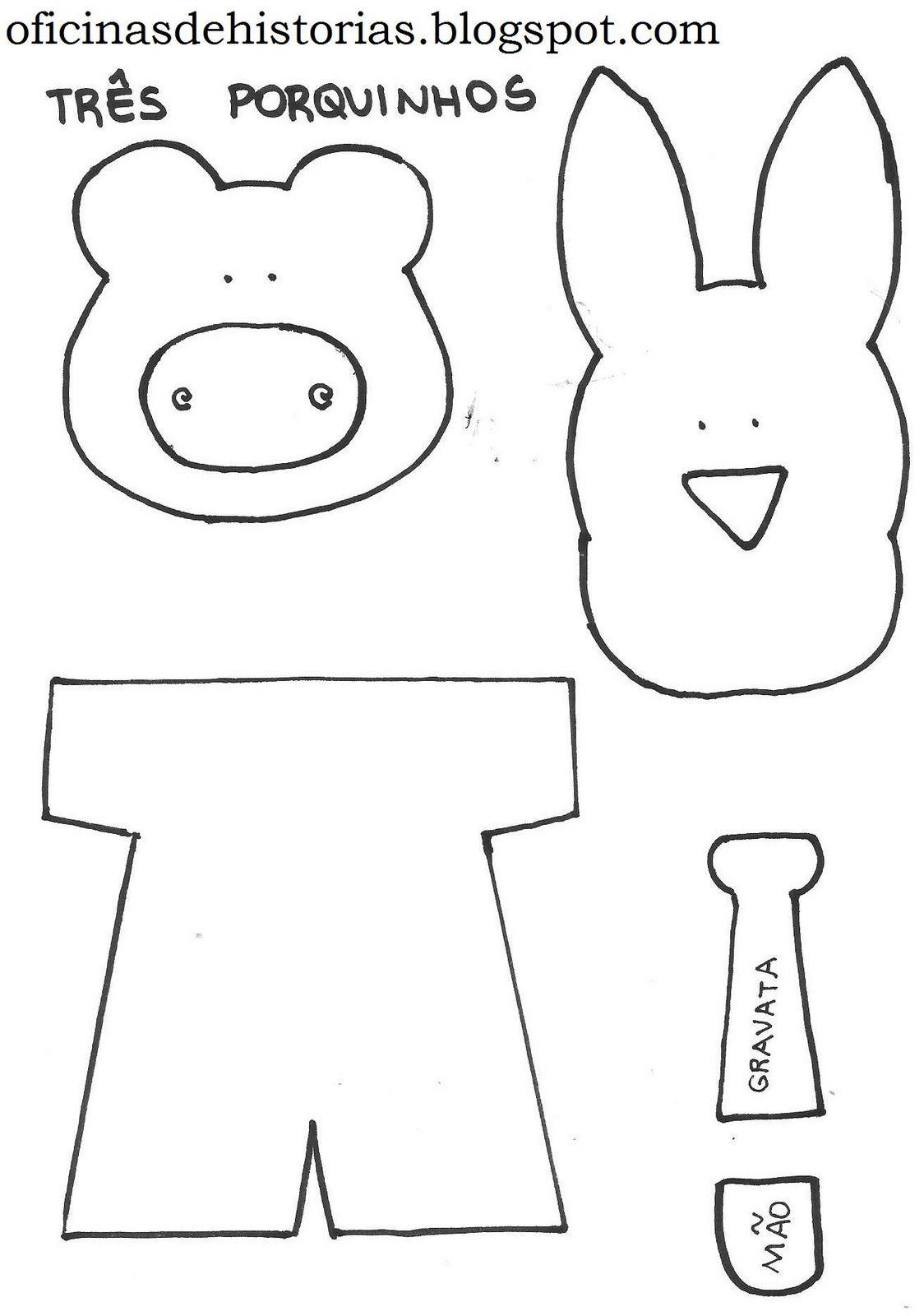 Dedoche Os 3 Porquinhos Com Molde Pesquisa Google Molde De