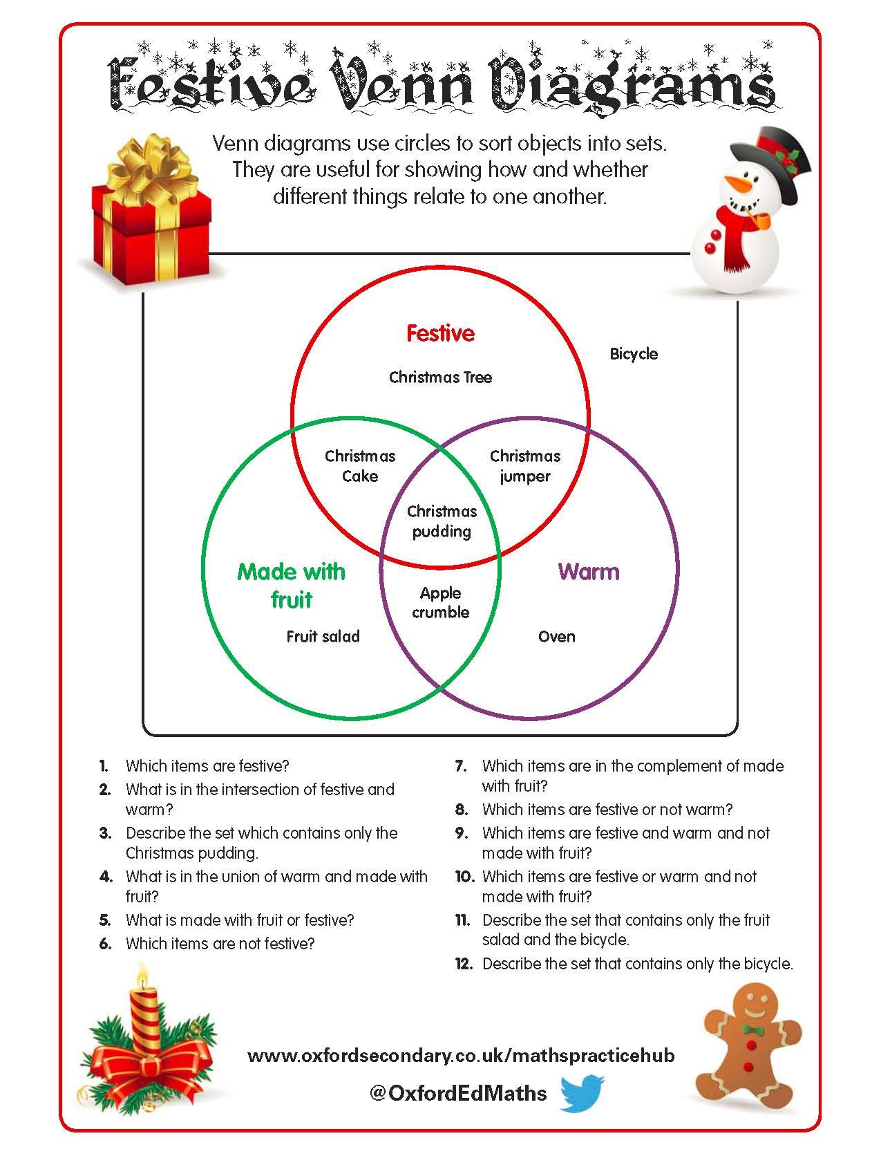 This Christmas-themed worksheet features Venn diagrams with fun ...