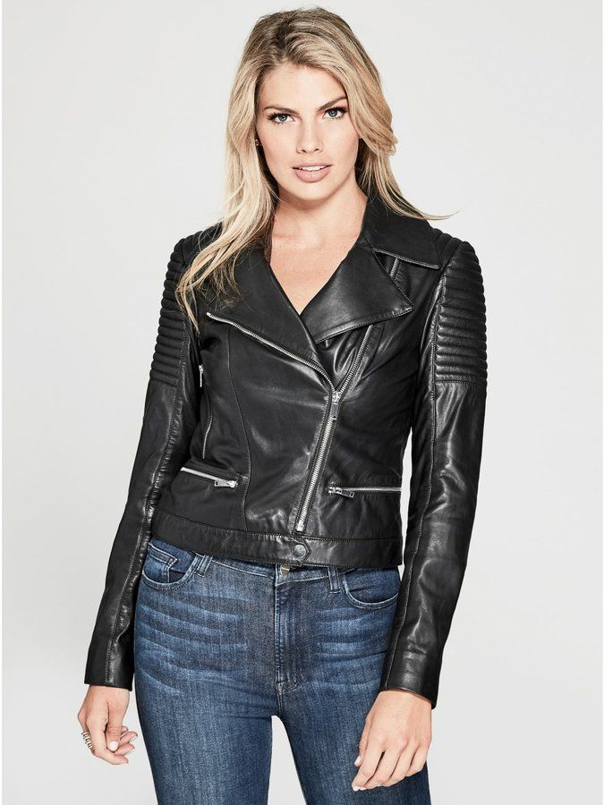 d2c9aaa82 GUESS by Marciano Women's Aylin Leather Moto Jacket | biker babes ...