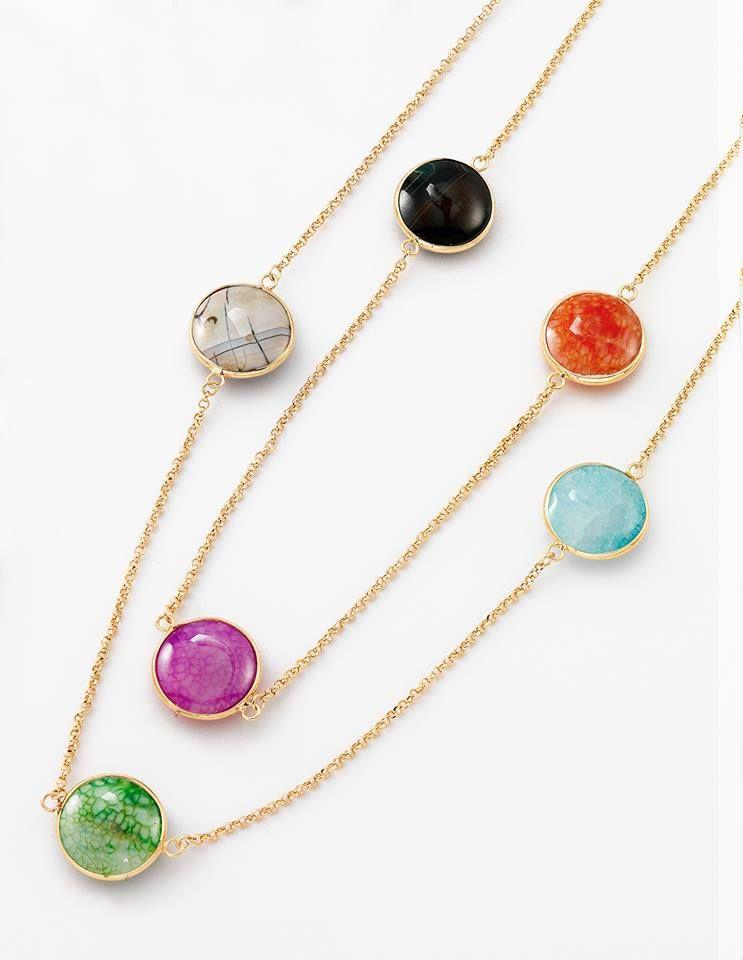 838d968b6d2b NICE Regalos hermosos - Lleno de color y vida. Collar con piedras de  cristal. Joyeria en 4 baños de oro de 18 kilates.