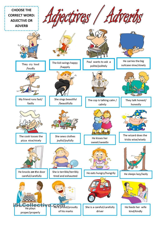 Workbooks worksheets on kinds of adverbs : ADJECTIVES - ADVERBS | English | Pinterest | Adverbs, Worksheets ...