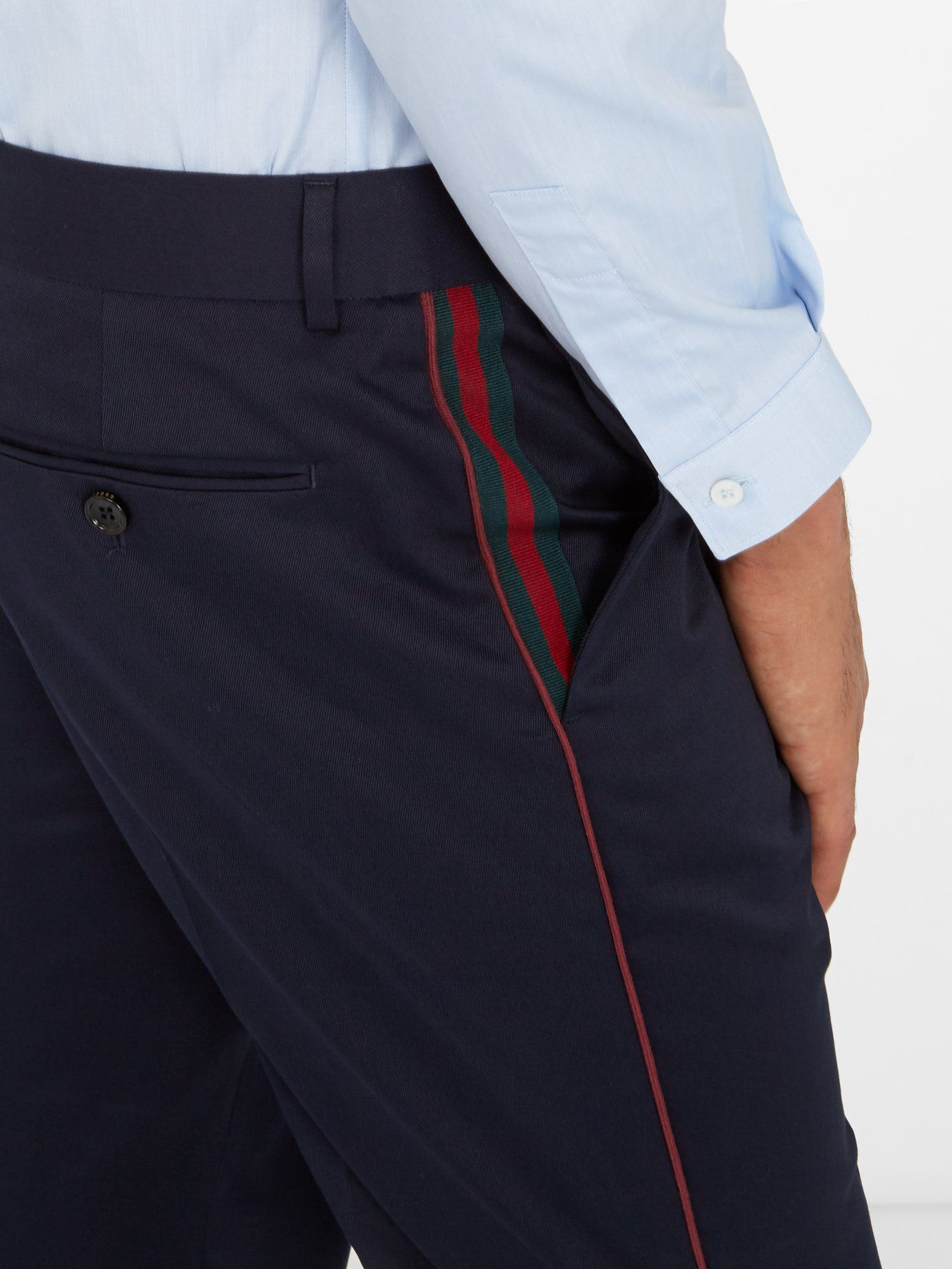 427d00ccc76c Side-stripe cotton trousers   Gucci   MATCHESFASHION.COM US   DETAIL ...