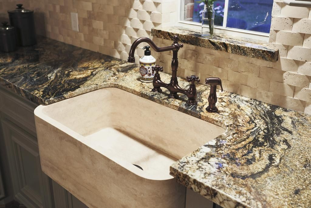 Obsessed Solid Travertine Apron Front Sink With Oil Rubbed