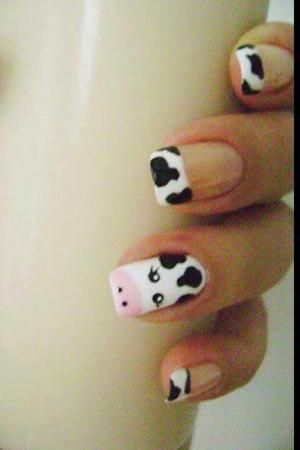 Cute And Easy Cow Nails Cow Nails Country Nails Animal Nail Designs