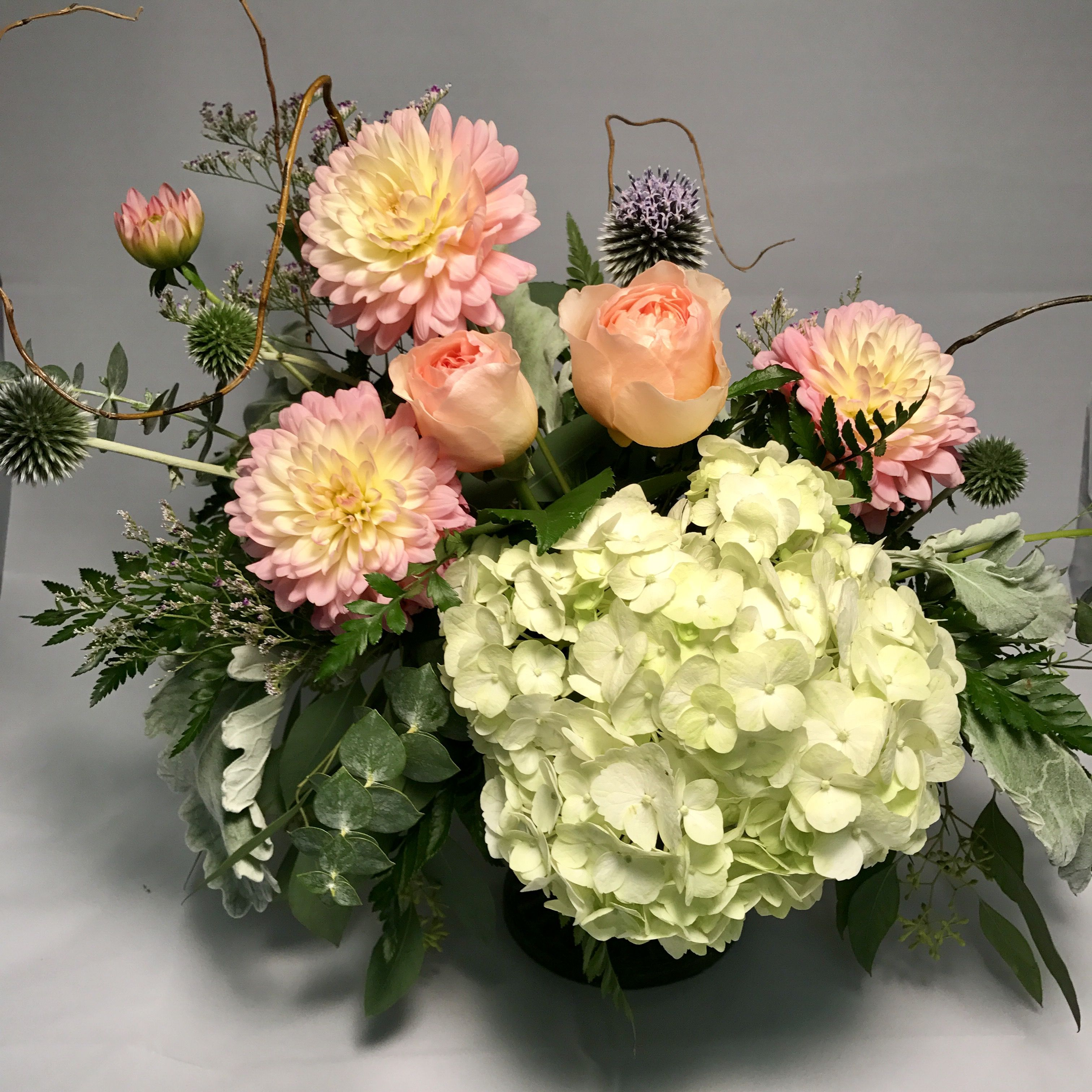 Peach Roses And Dahlia Arrangement With An Amazing White Hydrangea