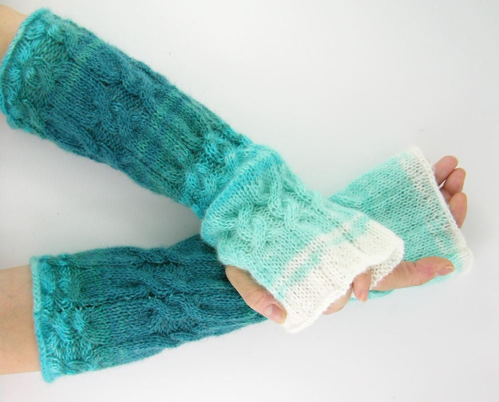 Fingerless gloves asda - Long Knit Fingerless Gloves Knit Arm Warmers Fingerless Mittens Cable Knit Aqua Turquoise Ombre White Fall
