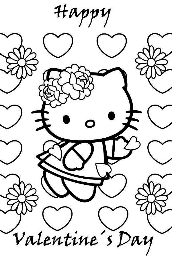 Coloring Pages For Valentines Day Hello Kitty : Hello kitty valentine s day coloring sheets