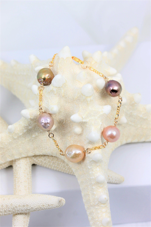 Pearl Bracelets, Tin Cup bracelet, Edison Pearls