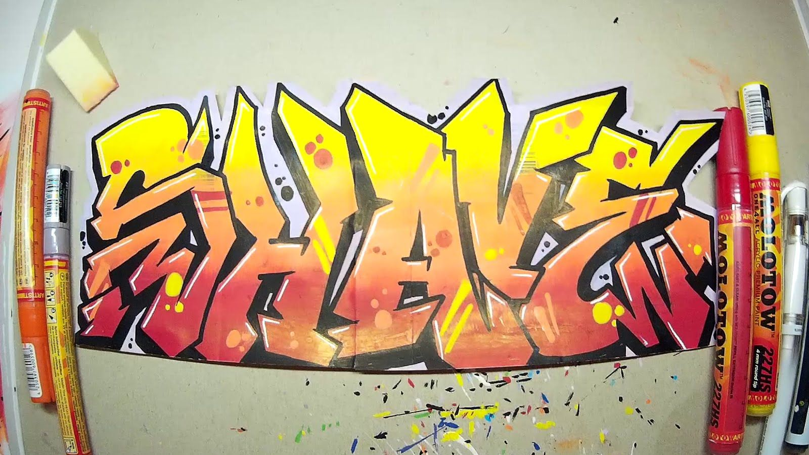 Graffiti Speedart l Speedpaint Shave red orange yellow Sticker ...