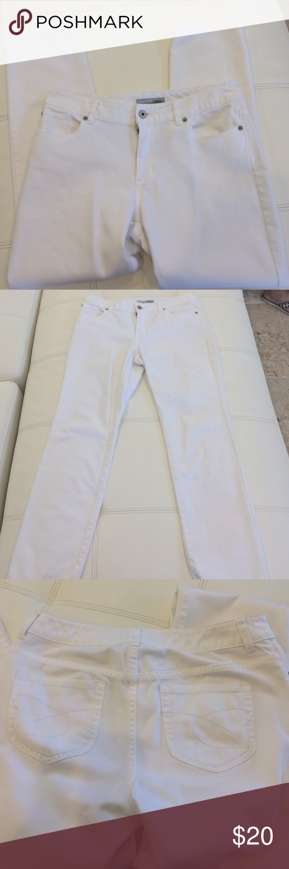 Chicos platinum jeans Chicos platinum jeans. 70% cotton 30% polyester. Chicos size 1 short. Chicos size one on their chart is equivalent to size 8.  26 inch inseam Chico's Jeans