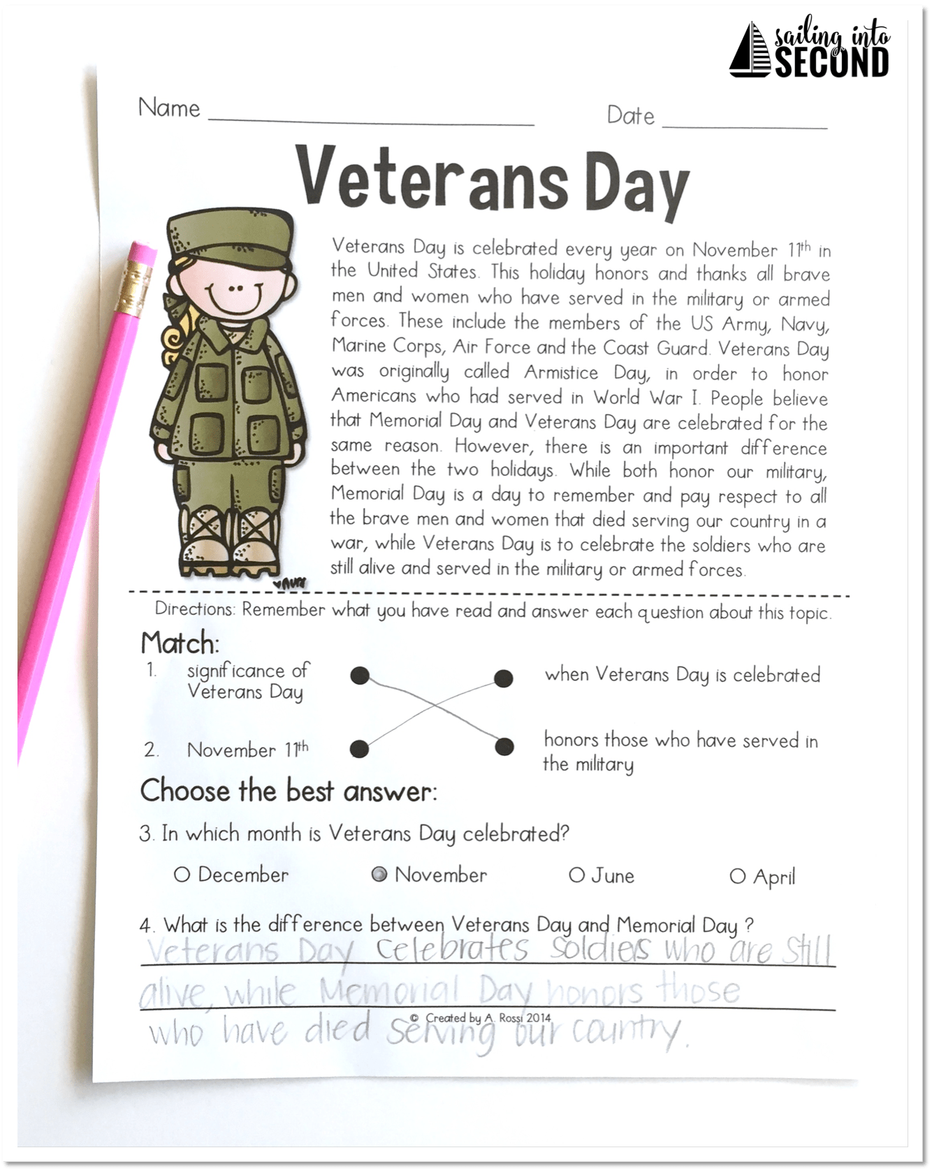 Veterans Day Activities From Sailing Into Second