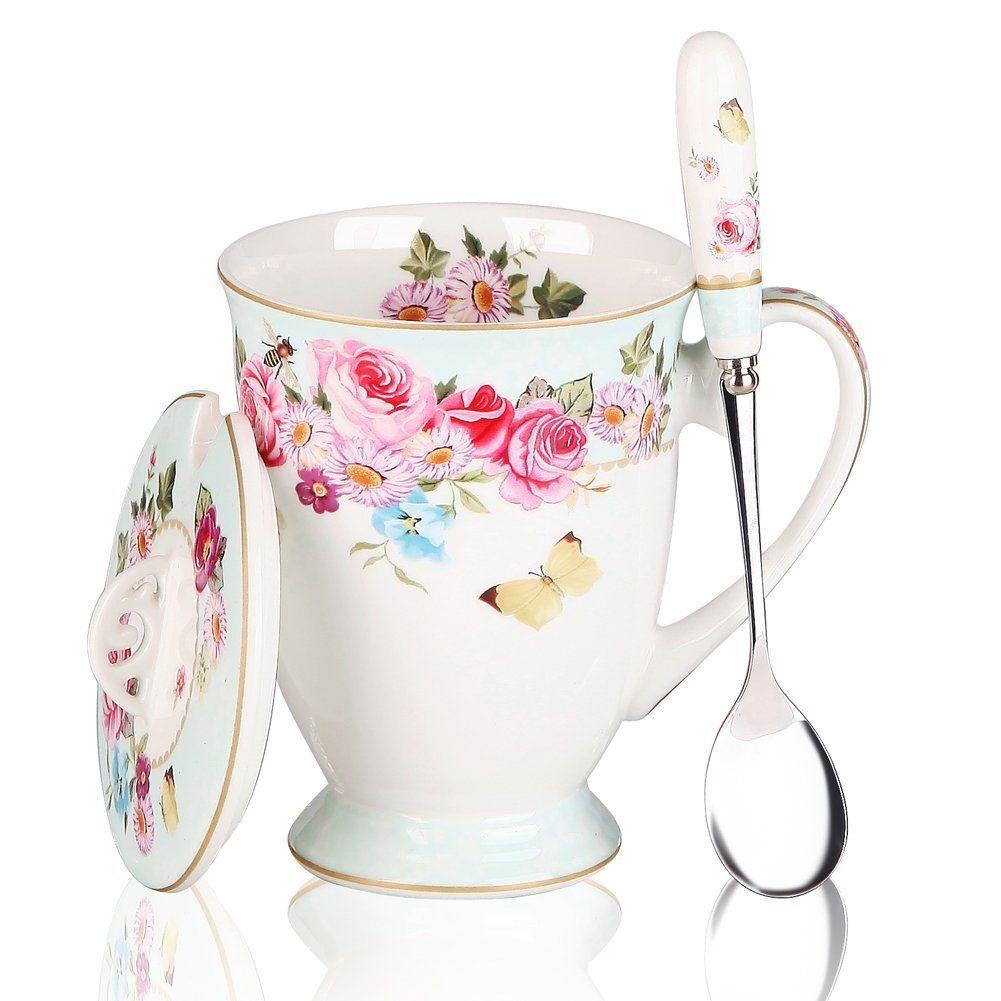 Coffee Mugs Spoon and Lid Café Bone China