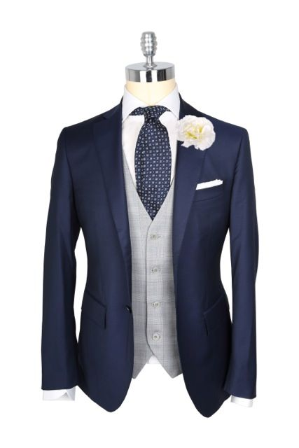 Navy blazer   gray vest   navy patterned tie...this is so sharp ...