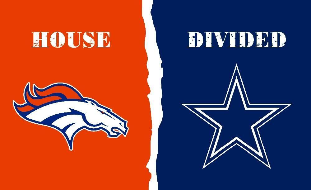 Dallas Cowboys and Denver Broncos House Divided Flag; 3