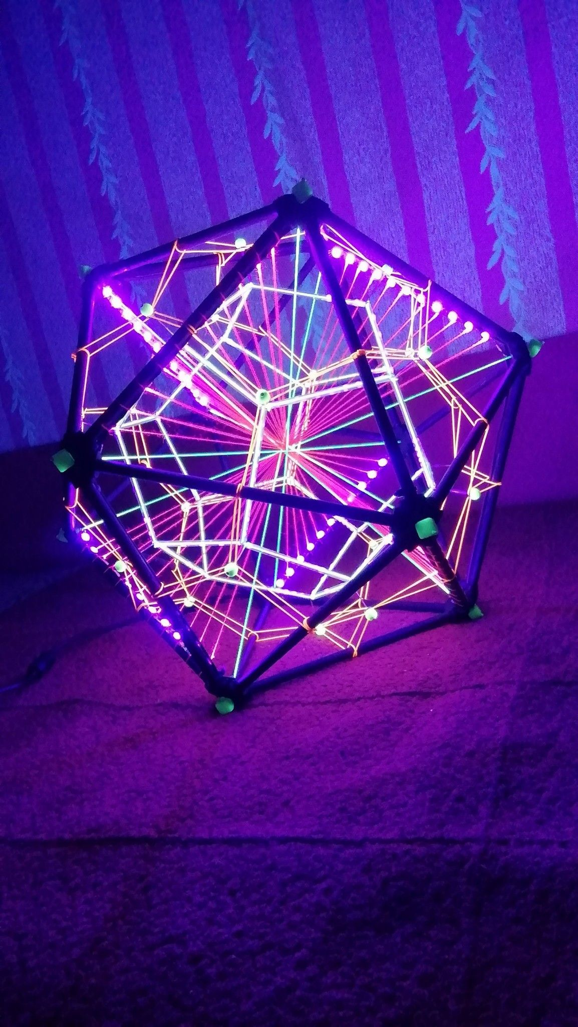 Led Fluorescent Decorative Icosahedron Lighting Art Object For Psychedelic Night Events And Parties Multidimensional Sacred Geometry Decor Sacred Geometry Art Object Sacred Geometry Art