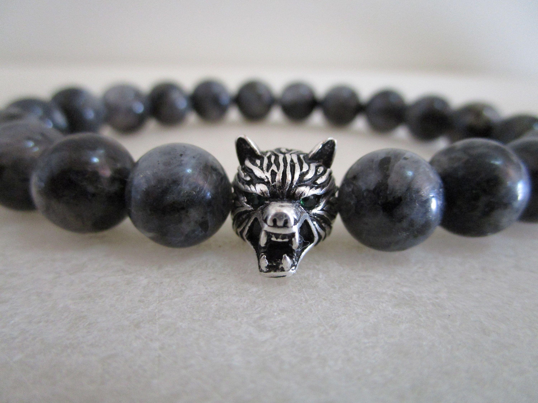 9852b345649e Wolf bracelet labradorite bracelet natural stone bracelets Mens gift ...