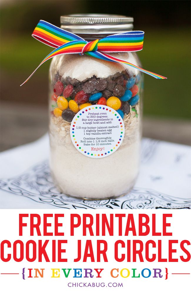 Free Printable Cookie Jar Recipe Circles In Every Color Chickabug Meals In A Jar Mason Jar Cookies Jar Gifts