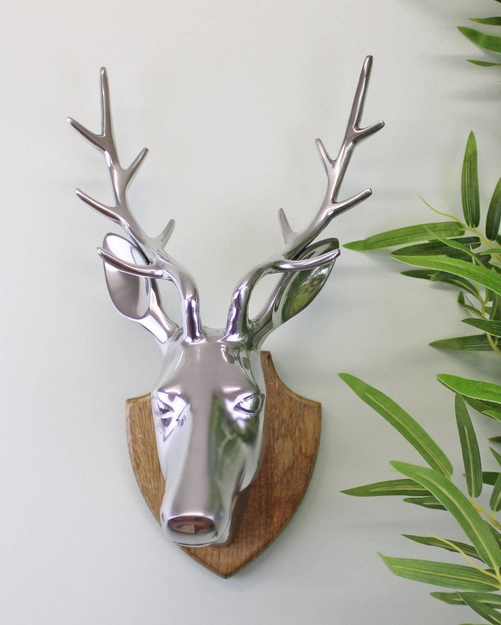 Silver Stag Head On Wooden Mount
