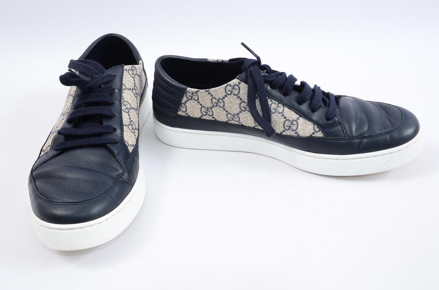 871229fb46e Gucci Common navy beige 10 colorblock GG logo low top sneaker UK 9 ...