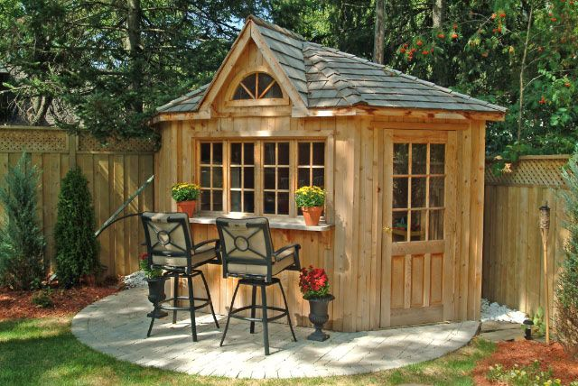 Corner shed corner cabana toronto backyard corner for Outdoor cabana designs