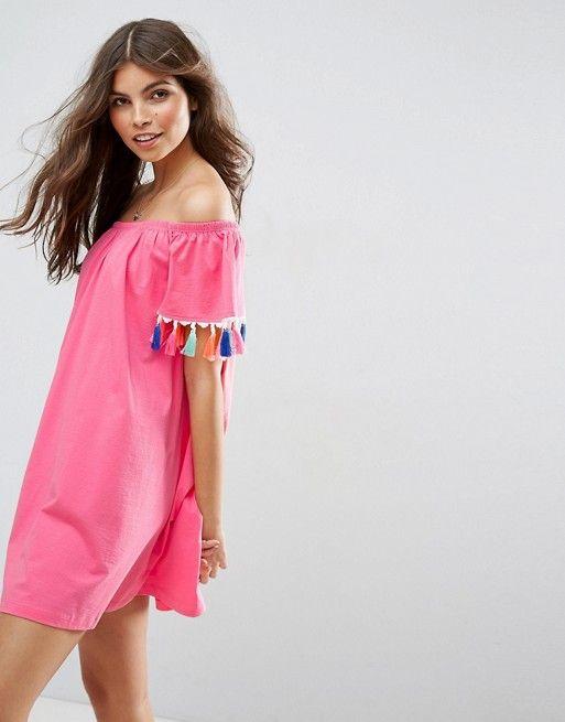 fddb30efc033 Off Shoulder Sundress with Colorful Tassels