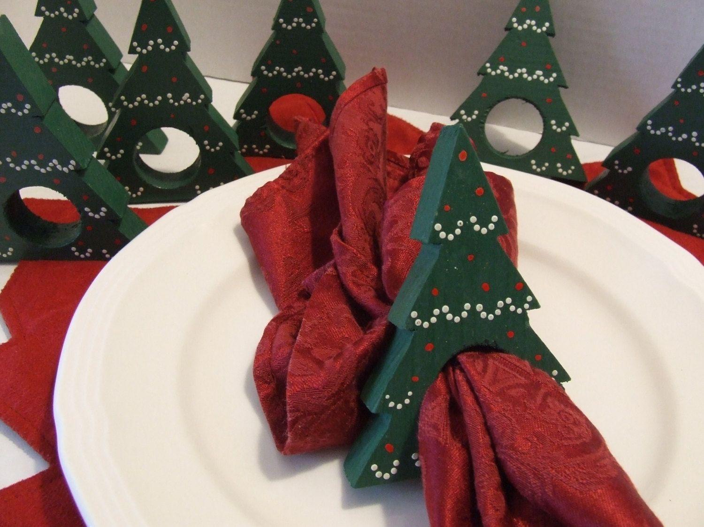 Christmas Tree Napkin Rings.8 Wooden Christmas Tree Napkin Holders Christmas Tree