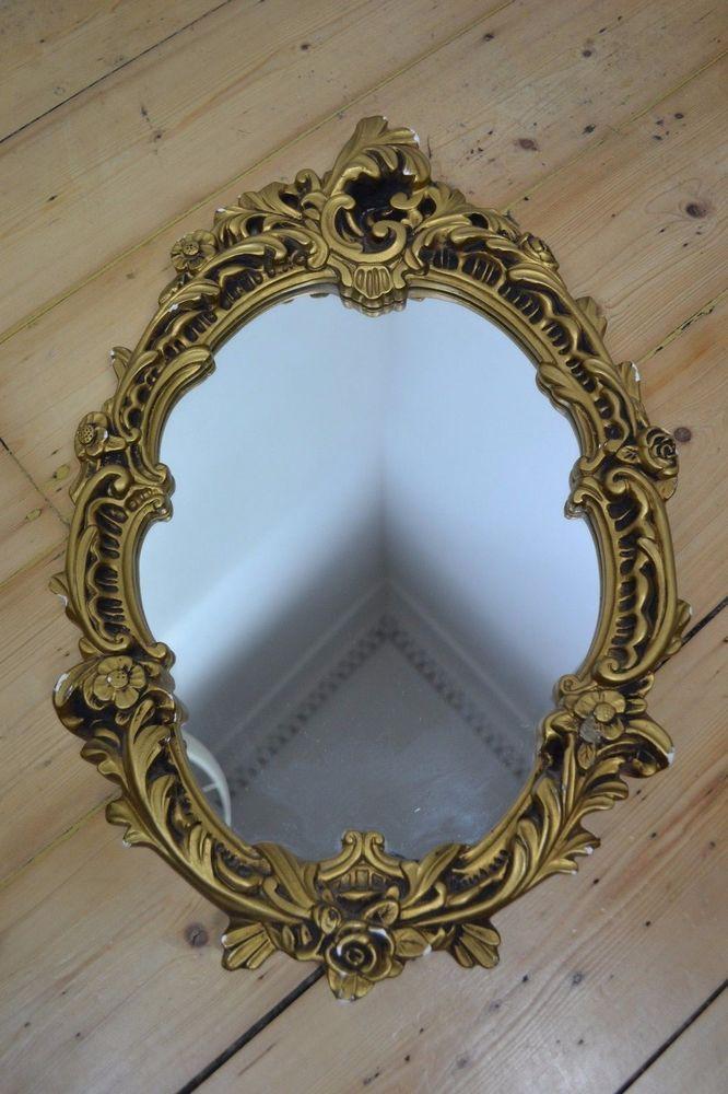 Gold Plaster Framed Mirror, Gold Baroque Mirrors Uk