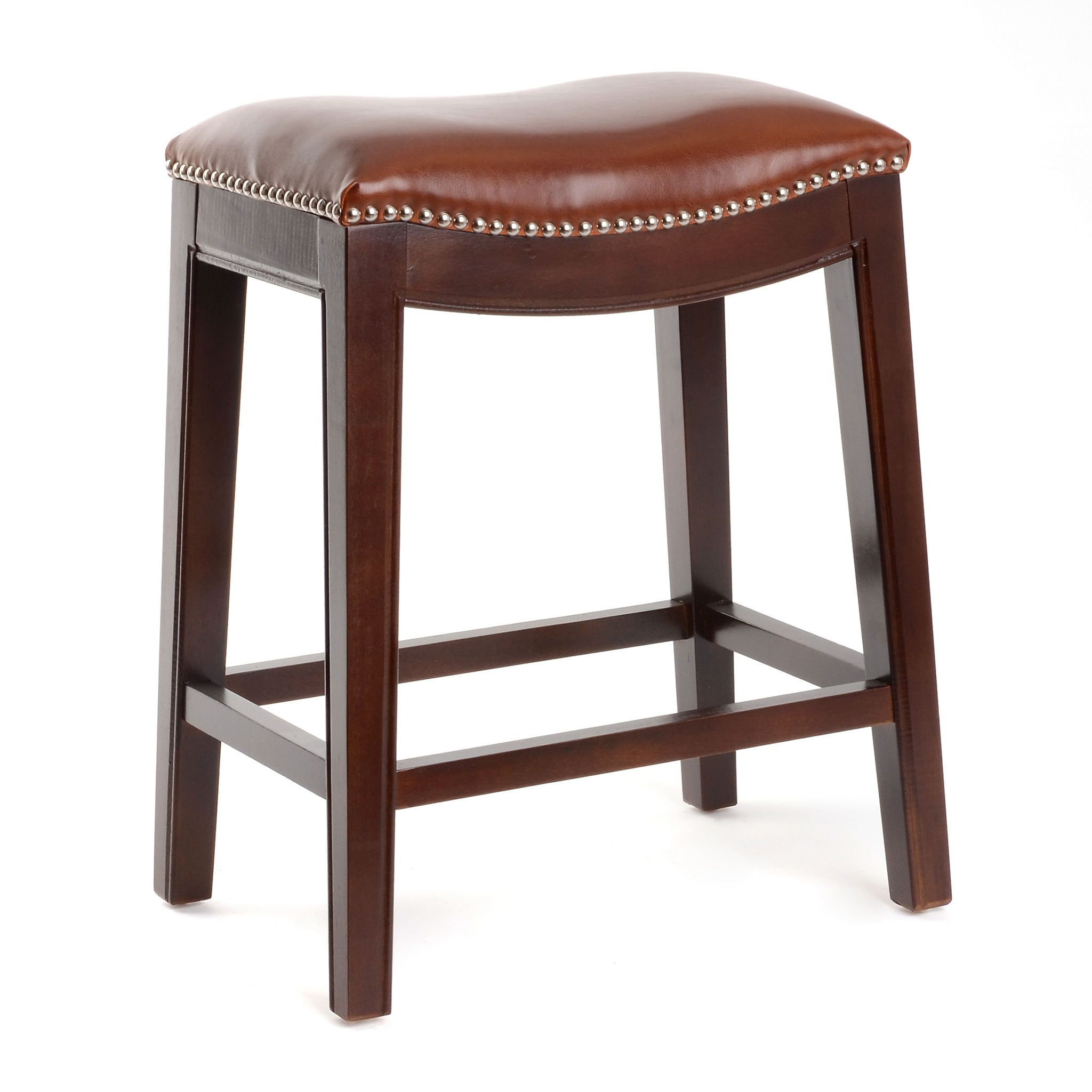 Backless Leather Counter Stools Part - 34: Everitt Cognac Leather Counter Stool