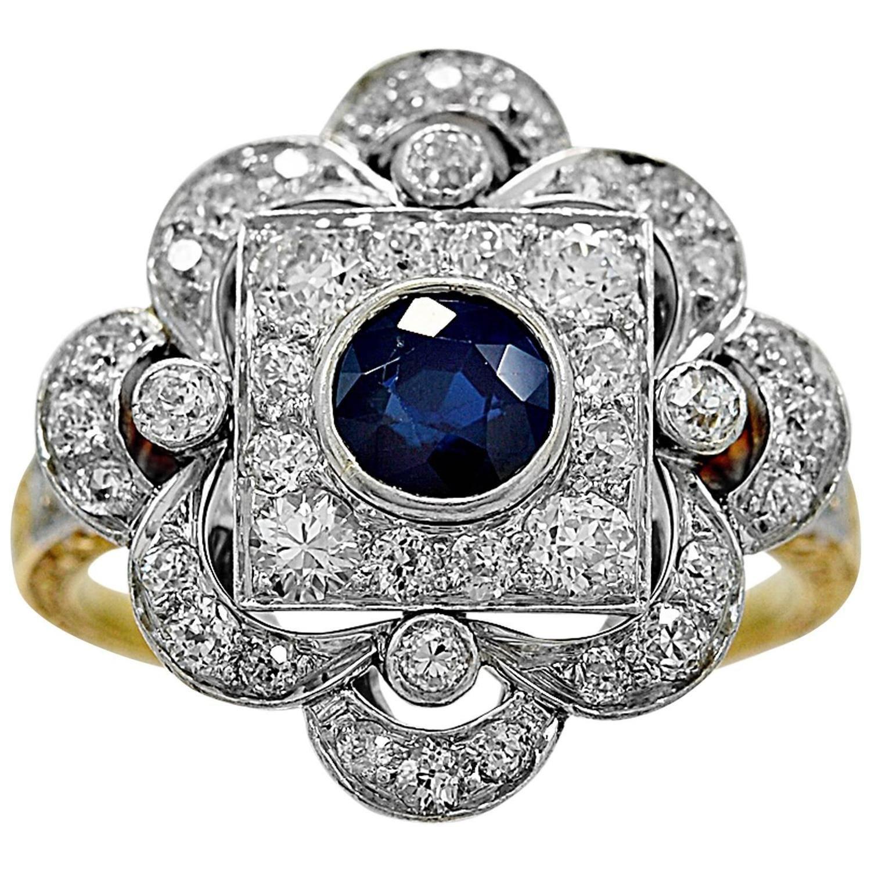 Antique .90 Carat Sapphire Diamond Gold Platinum Fashion Ring.