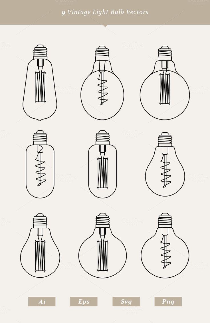 9 Vintage Light Bulb Vectors | Light bulb vector, Vintage ...