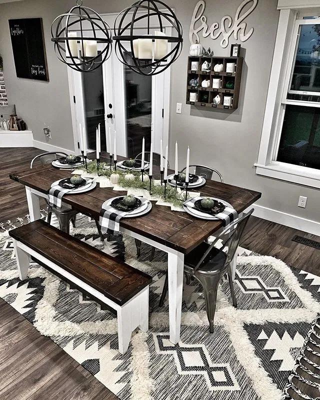 35+ Beautiful Farmhouse Dining Room Table Design Ideas#diningroomtable#diningroomtabledesign#diningroomtableideas ⋆ aviatech.xyz #diningroom
