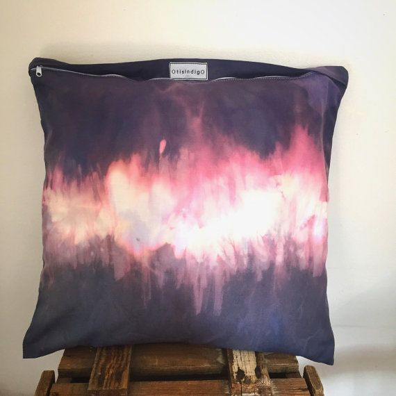Blue pink purple watercolour cotton canvas cushion / by OtisIndigo