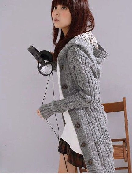 Flax Patterns Acrylic Hooded Cardigan For Women | Long