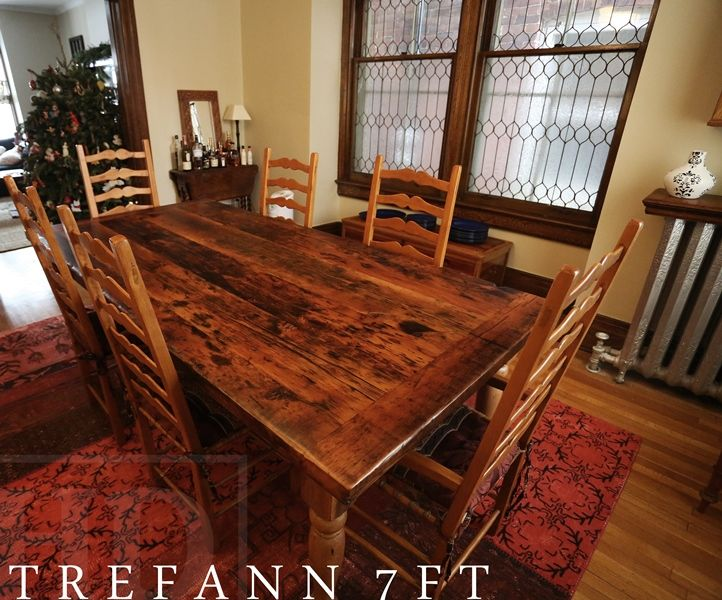 Modern Reclaimed Wood Furniture with epoxy/polyurethane finish - Ontario  Threshing Floor Board Top -