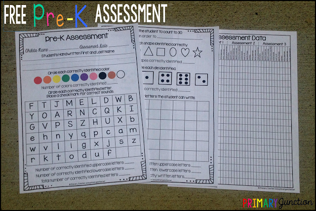Free PreK Assessment  PreKKindergarten Ideas