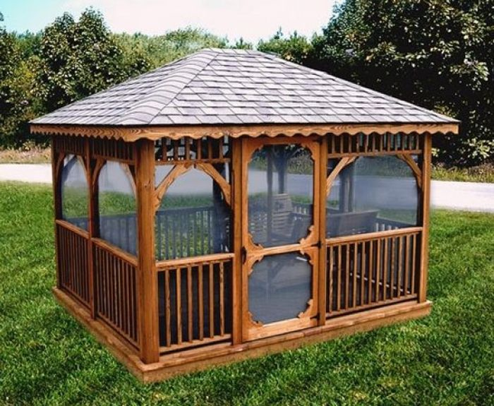Classic Wood Gazebo Add Your Custom Features Like Shingle Color Netting Swing