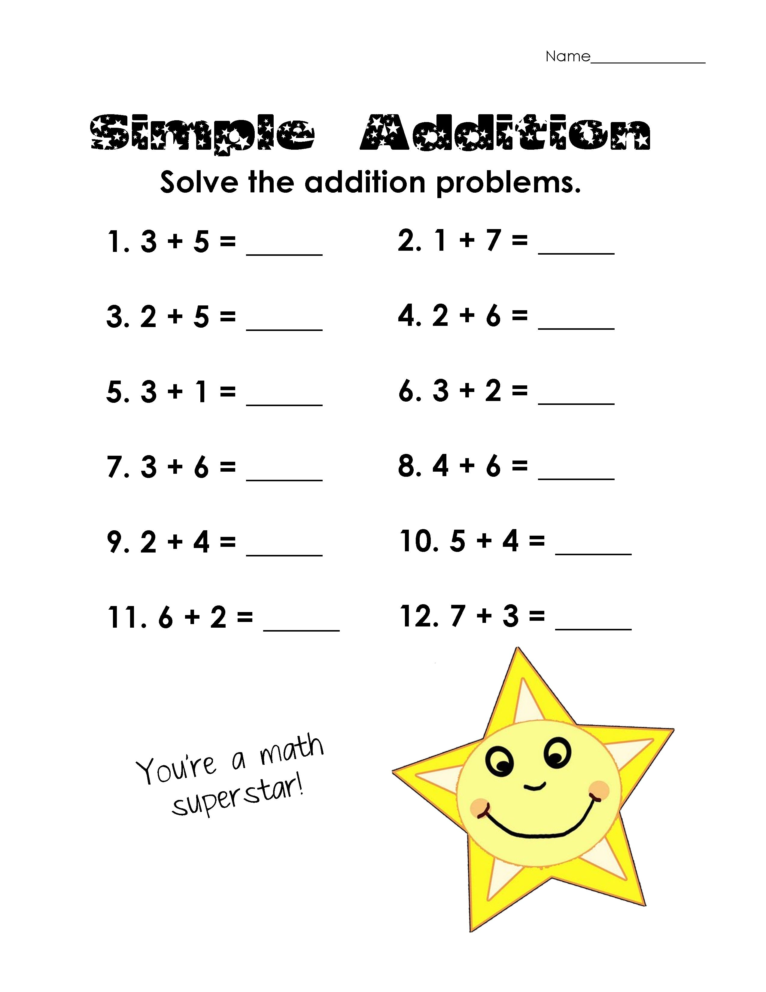 Simple Math Worksheets