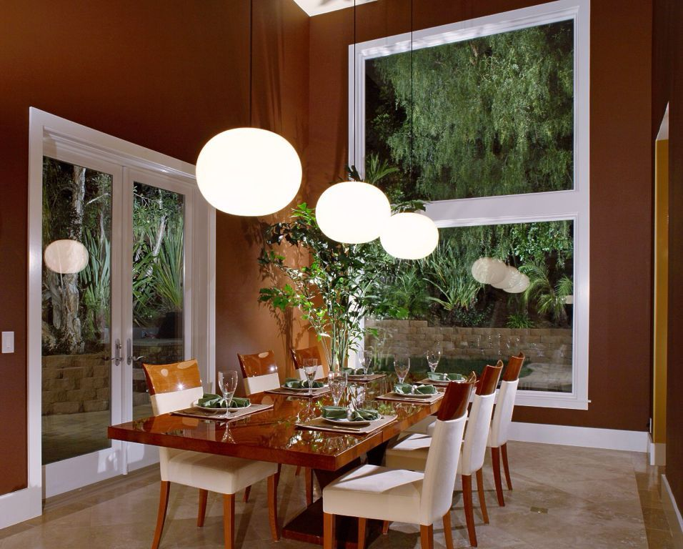 Modern Dining Room With French Doors High Ceiling Pendant Light Impressive Modern Dining Room Pendant Lighting Design Decoration