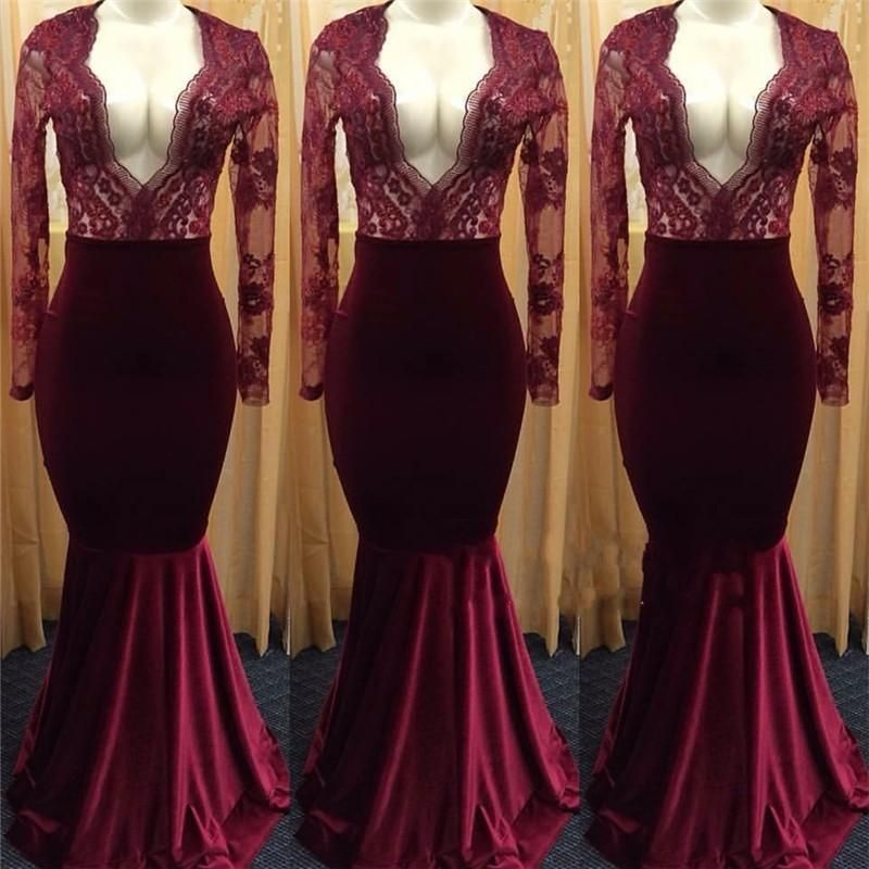 12d14450a2636 Elegant Burgundy Velvet Mermaid Prom Dresses With Sexy Plunging V Neck Long  Sleeves Illusion Lace 2018 Cheap Party Evening Gowns Cheap Red Prom Dresses  ...