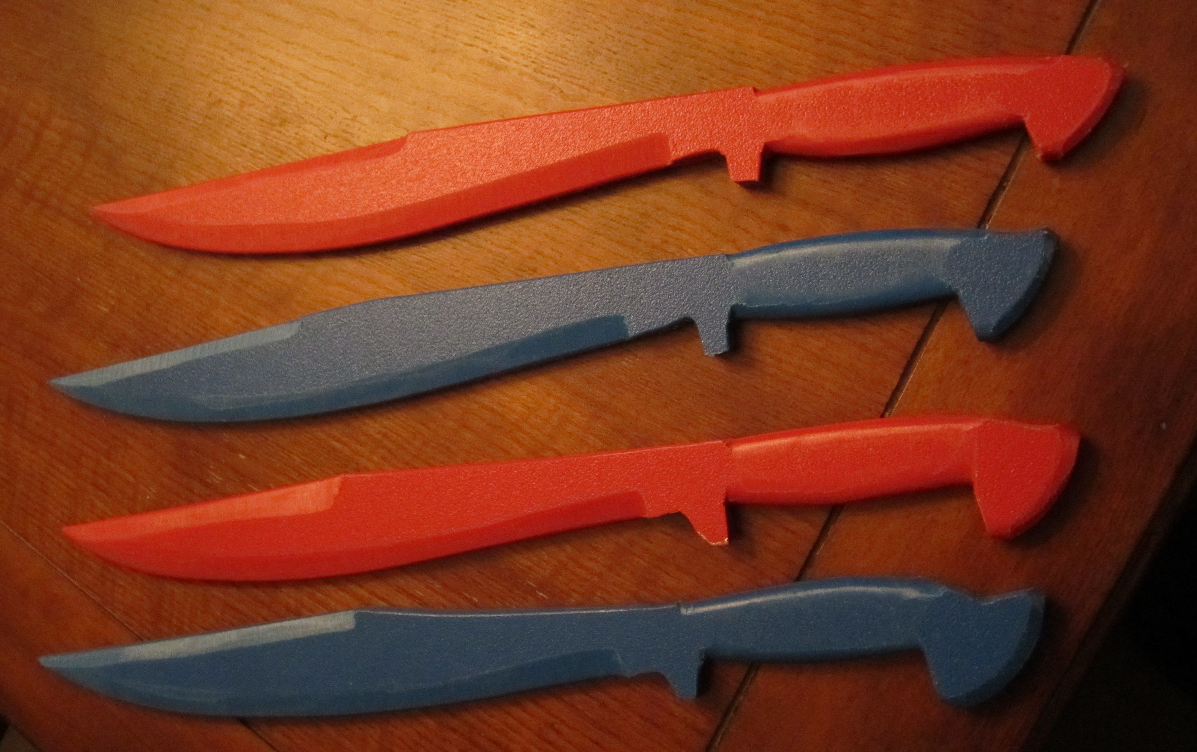 Some short training swords made out of hard plastic  Feels