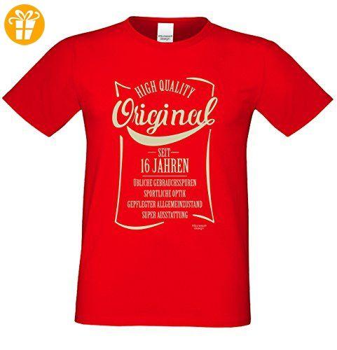 Herren-Männer-T-Shirt Original seit 16 Jahren Geschenk Geschenkidee zum 16  Geburtstag auch Übergrößen 3XL 4XL 5XL Farbe: rot: Amazon.de: Bekleidung