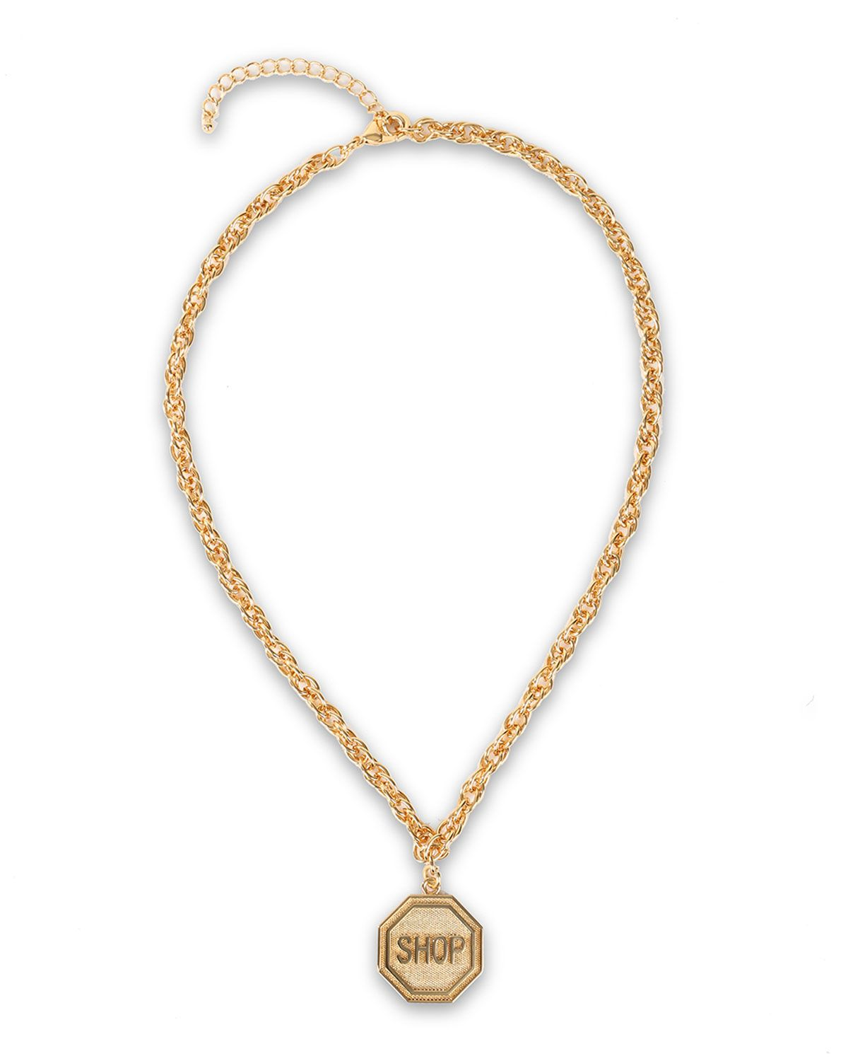 """Shop"" Sign Golden Pendant Necklace, Women's, GOLD - Moschino"