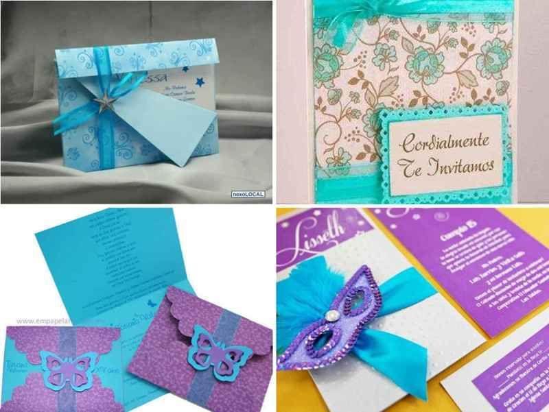 Tarjetas De Invitacion Para 15 Años Azules 7 Tile