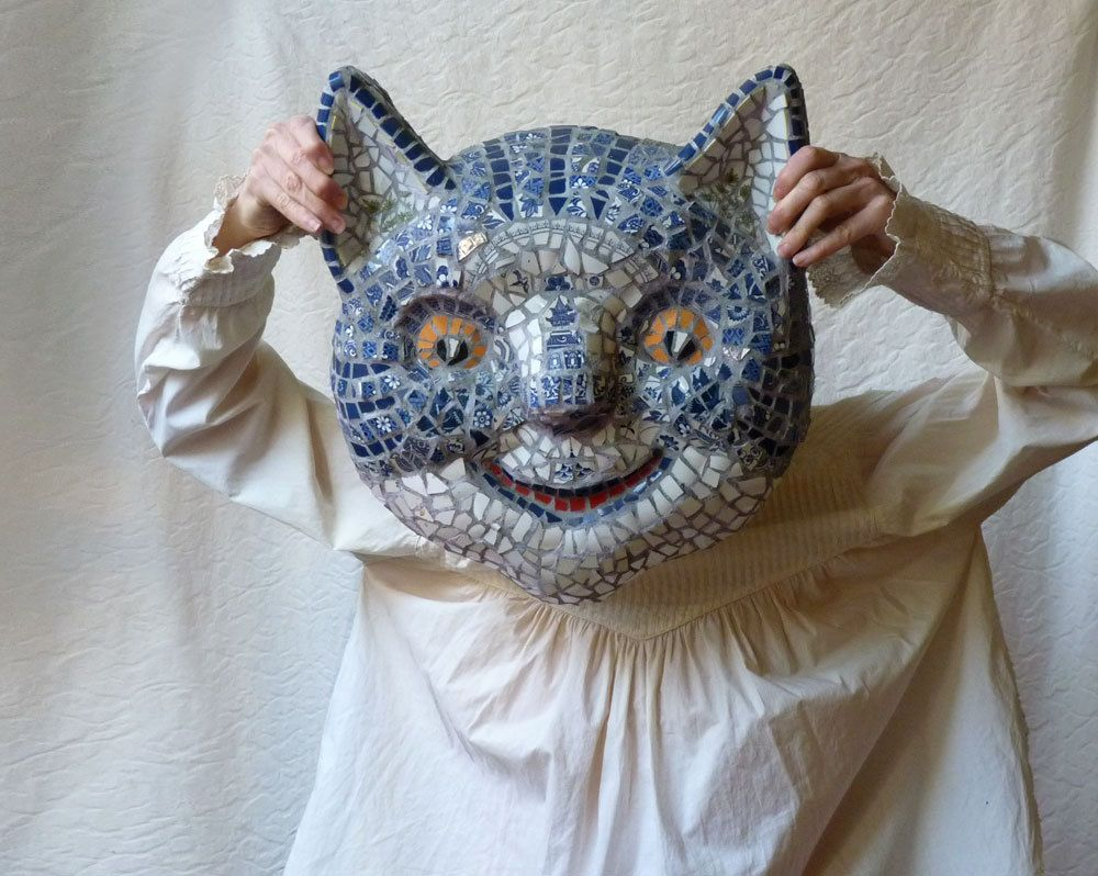 Cheshire Cat Mosaic Mask by Susan Sanford, blue and white picassiette