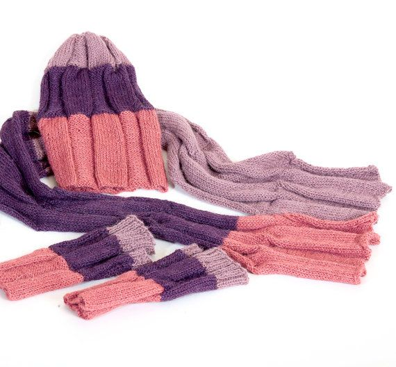 #Unisex, Beanie, Alpaca knitted hat, Knitted Cap and Scarf, Winter hat, Autumn&spring accessorie, Fall winter spring autwear set, Hat Scarf Mittens, Purple Pink Lilac Tricol... #leather #bag #handmade #native #knitting #crocheting #looseknit #oversized #ecofriendly #unisex ➡️ http://jto.li/VWzzj